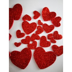 Serca brokatowe czerwone,...