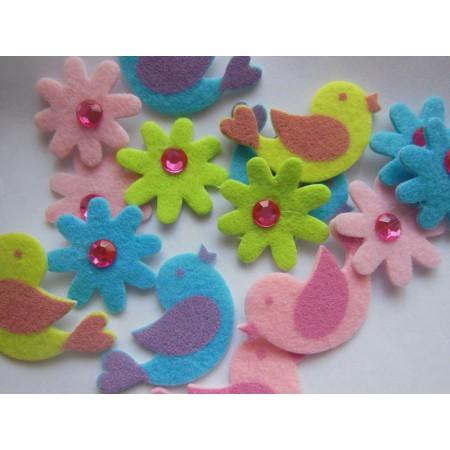 Ptaszki i kwiatki - filce...